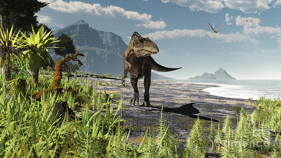 An Acrocanthosaurus Roams An Early Digital Art