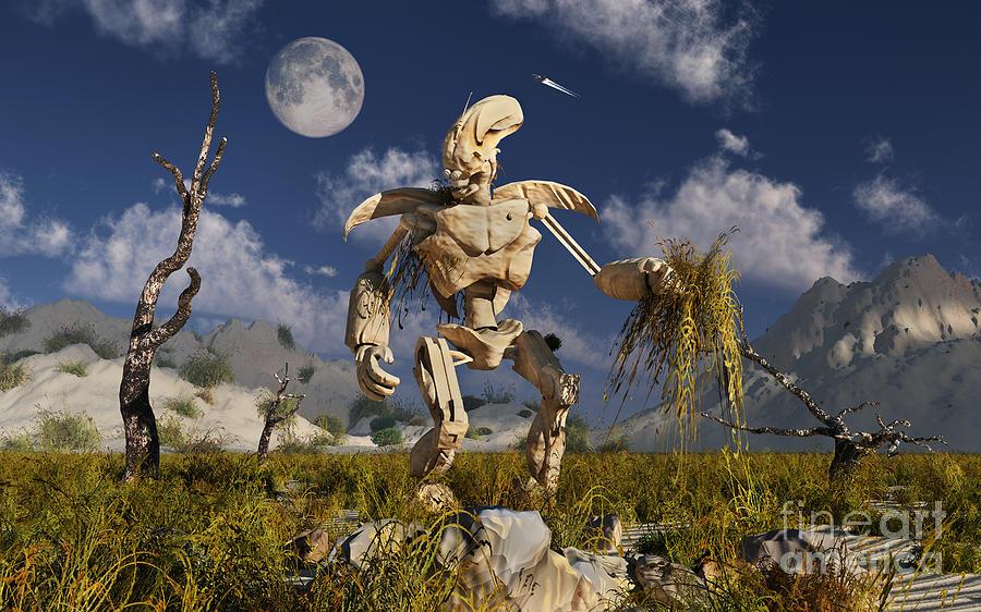 Horizontal Digital Art - An Advanced Robot On An Exploration by Stocktrek Images