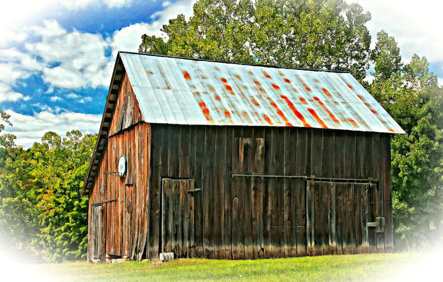 An American Barn 2 Oil Photograph  - An American Barn 2 Oil Fine Art Print
