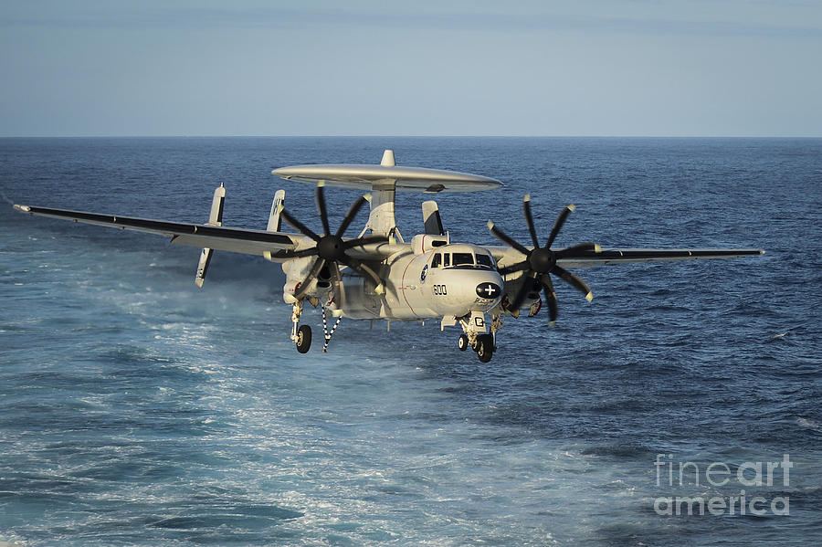 An E-2c Hawkeye Prepares To Land Photograph  - An E-2c Hawkeye Prepares To Land Fine Art Print
