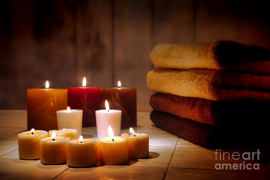 Candles Photograph - An Evening At The Spa by Olivier Le Queinec
