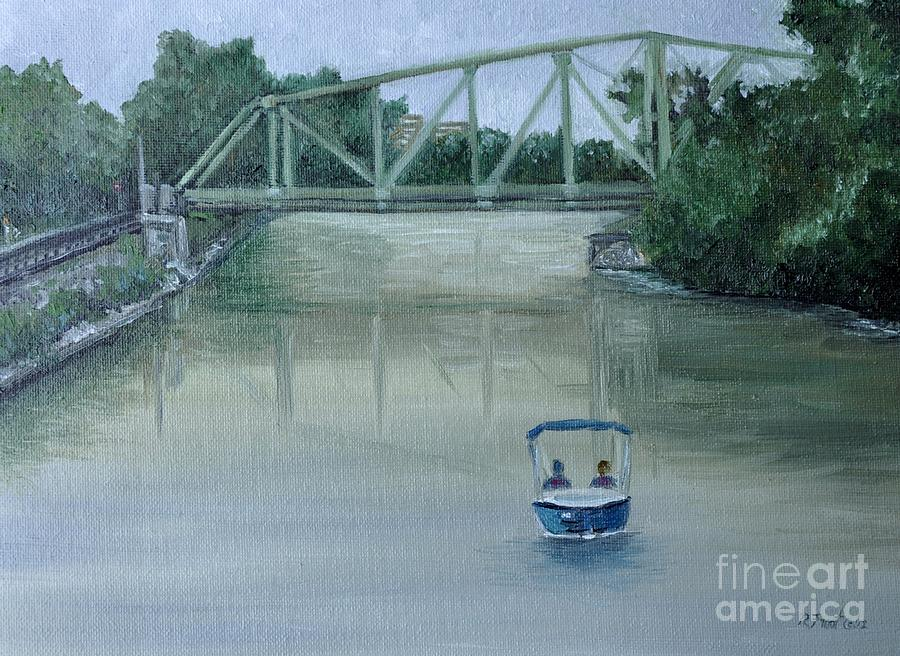 An Evening  Boat Ride On Lachine Canal Painting  - An Evening  Boat Ride On Lachine Canal Fine Art Print