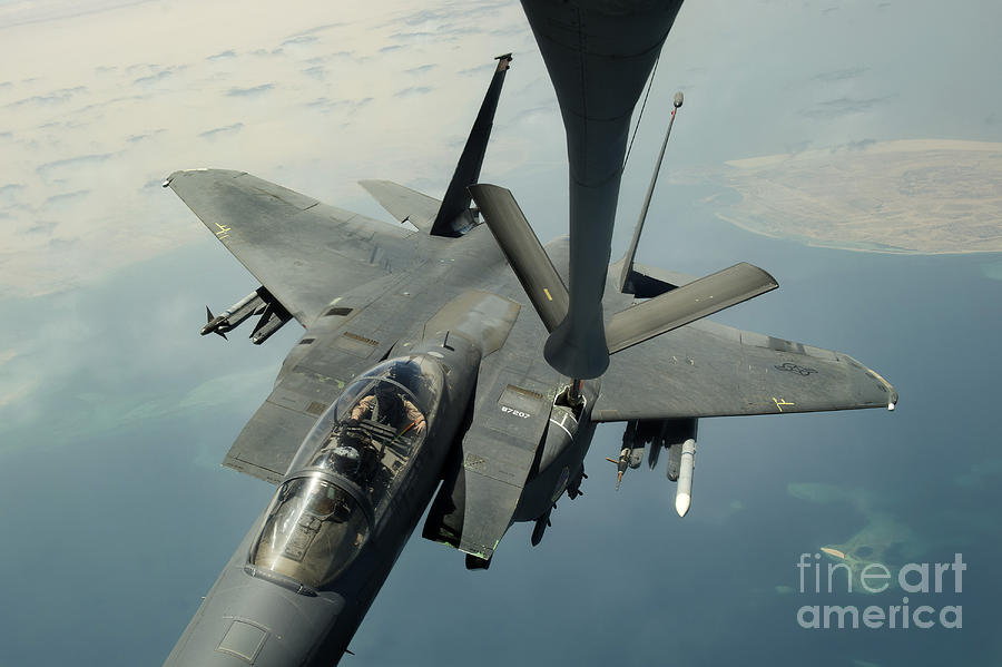 Afghanistan Photograph - An F-15e Strike Eagle Receives Fuel by Stocktrek Images