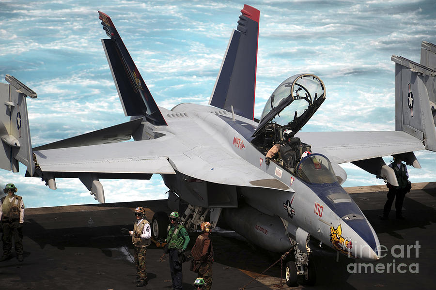 An Fa-18f Super Hornet Sits Photograph