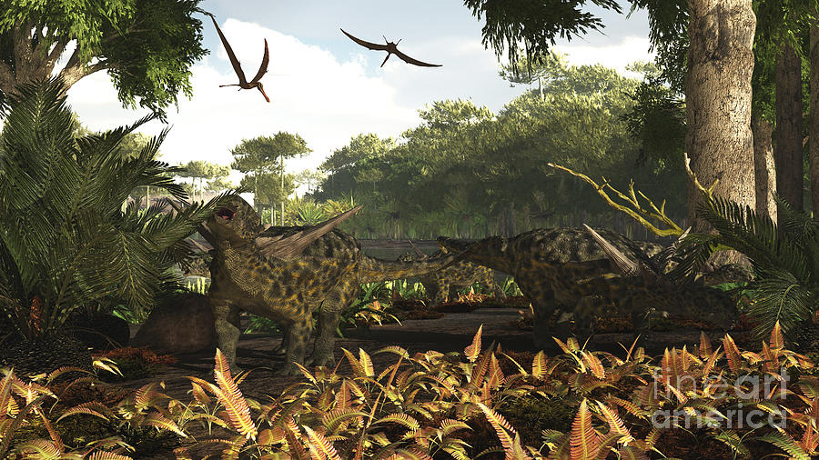 An Group Of Ankylosaurid Dinosaurs Digital Art