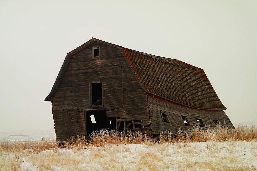 An Old Leaning Barn In North Dakota Photograph