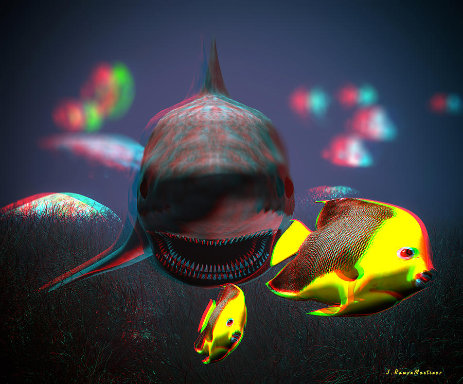 Anaglyph Shark And Fishes Digital Art  - Anaglyph Shark And Fishes Fine Art Print