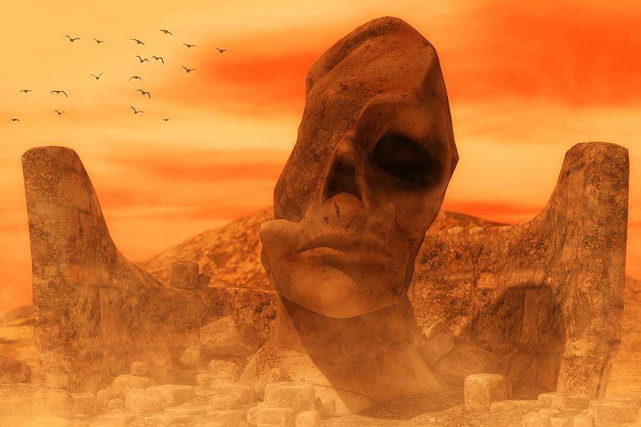 Ancient Sculpture - The Sacred Head Of Rasmedes Digital Art
