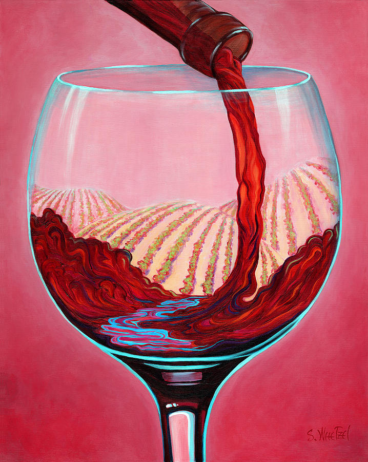 Red Wine Pour Painting - ...and Let There Be Wine by Sandi Whetzel