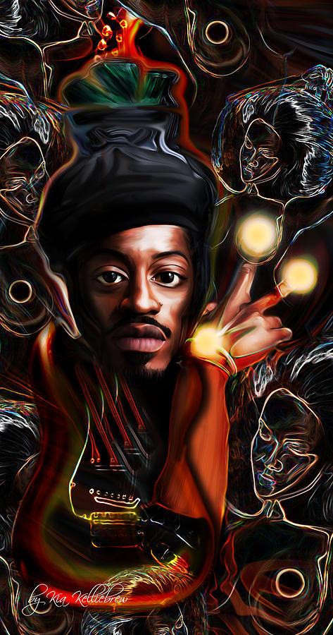 Andre The Martian 3000 Jimi Hendrix Edition Digital Art