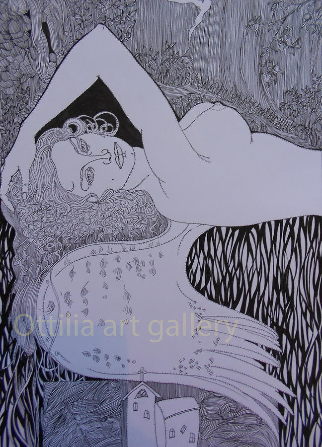 Angel Above Village Drawing