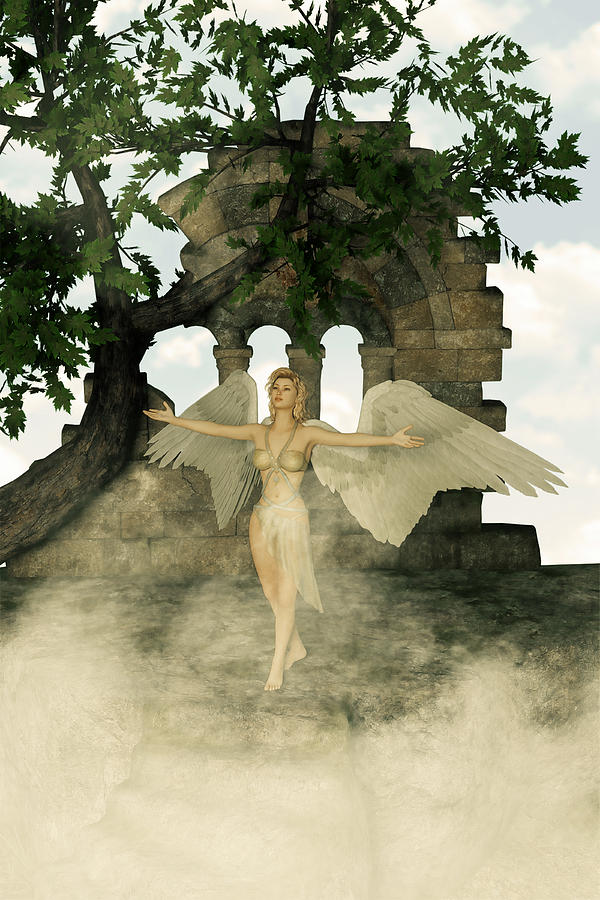 Angel And The Sacred Ruins Digital Art  - Angel And The Sacred Ruins Fine Art Print