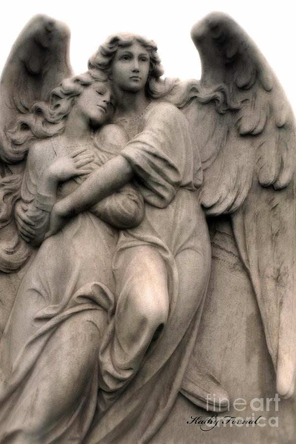 Angel Art - Guardian Angels Loving Embrace Photograph