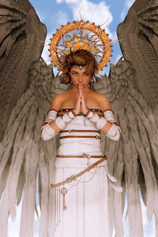 Angel - Divine Power Of Prayer Digital Art  - Angel - Divine Power Of Prayer Fine Art Print