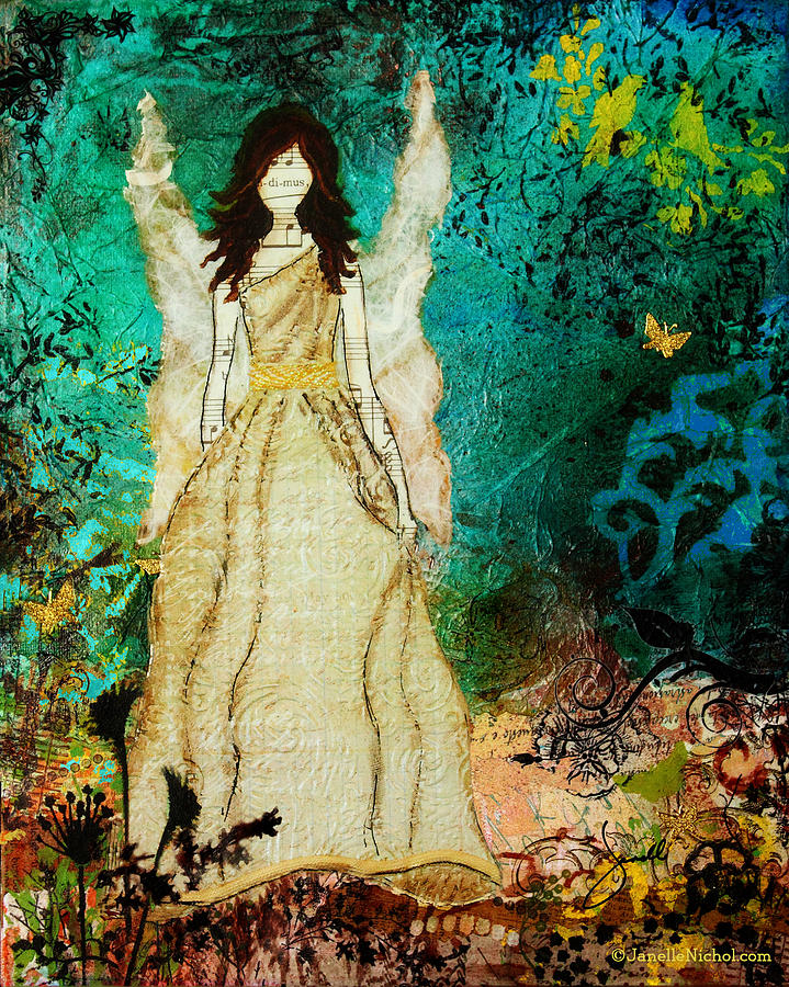 Angel In The Garden Inspirational Abstract Mixed Media Art Mixed Media