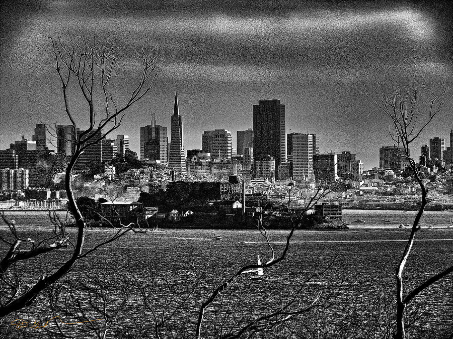 Angel Island State Park California - Alcatraz And San Francisco Skyline Monochrome Photograph