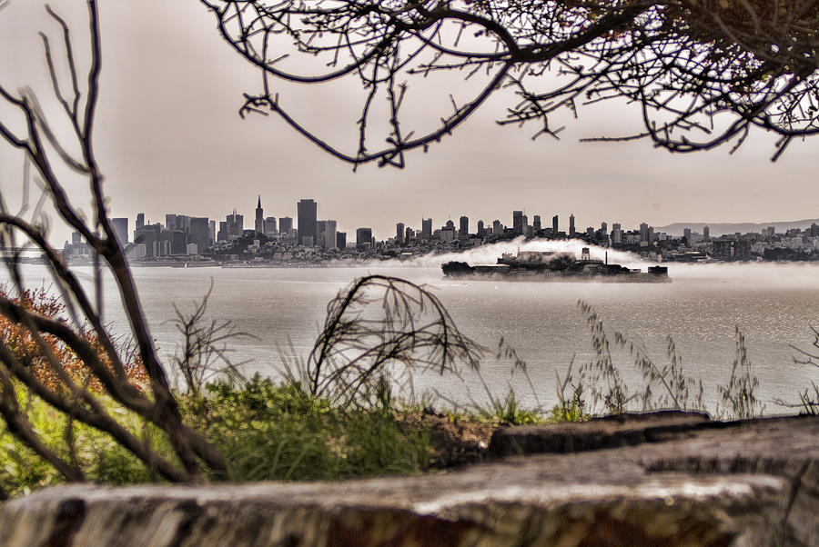 Angel Island State Park California  - San Francisco Bay - Alcatraz In The Fog - Hdr Photograph  - Angel Island State Park California  - San Francisco Bay - Alcatraz In The Fog - Hdr Fine Art Print