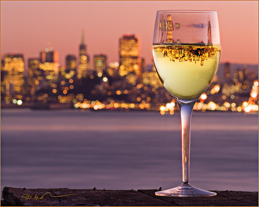 Angel Island State Park California - San Francisco City - Chardonnay In Wine Glass - Inverted Image Photograph