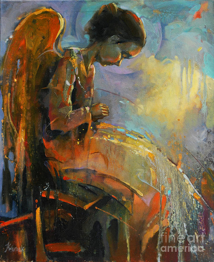 Angel Meditation Painting - Angel Meditation by Michal Kwarciak