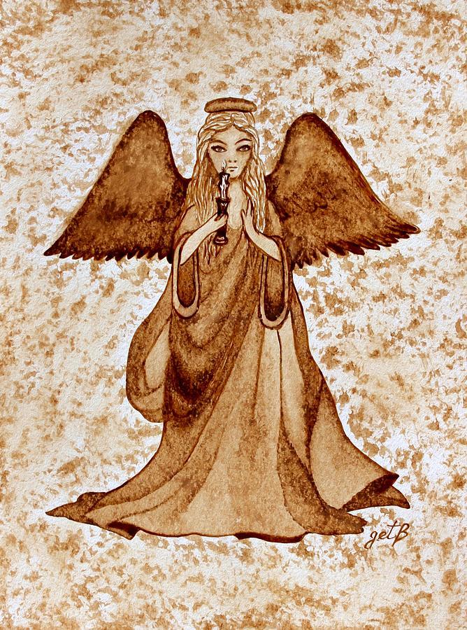 Angel Painting - Angel Of Hope Original Coffee Painting by Georgeta Blanaru