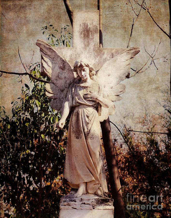 Angel Of Old Photograph  - Angel Of Old Fine Art Print