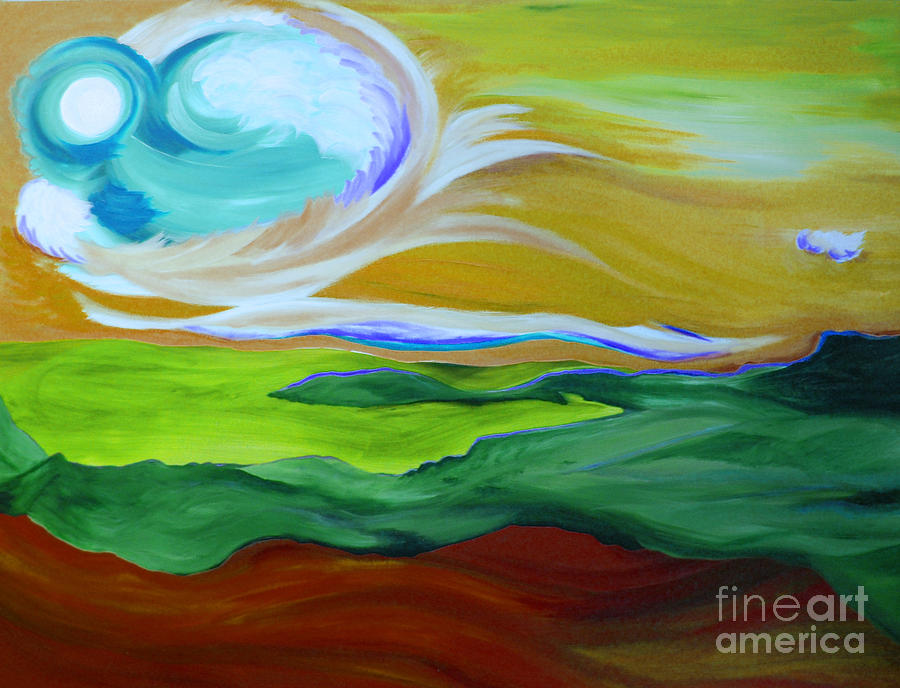 Angel Sky Green By Jrr Painting