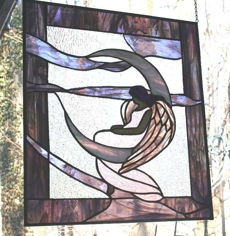 Stained Glass Art - Angel Waits by Jill Groves