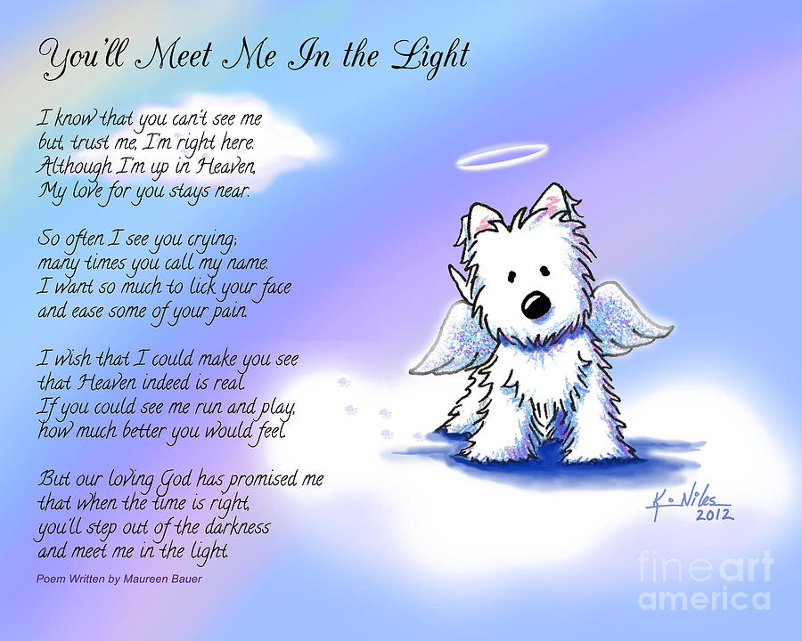 Angel Westie With Poem Drawing