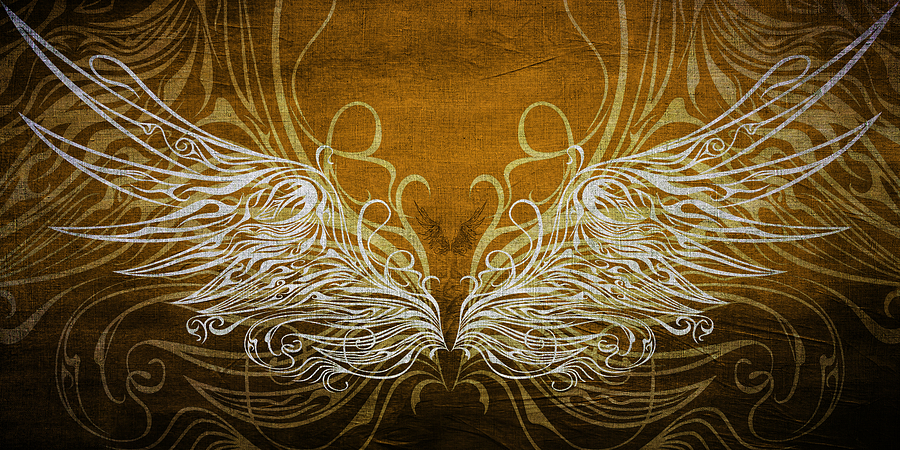 Angel Wings Gold Mixed Media  - Angel Wings Gold Fine Art Print