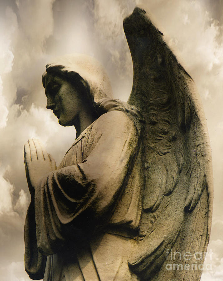 Angel Wings Praying - Spiritual Angel In Clouds Photograph  - Angel Wings Praying - Spiritual Angel In Clouds Fine Art Print
