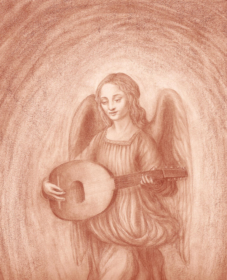 Angel With Lute After Leonardo Drawing  - Angel With Lute After Leonardo Fine Art Print