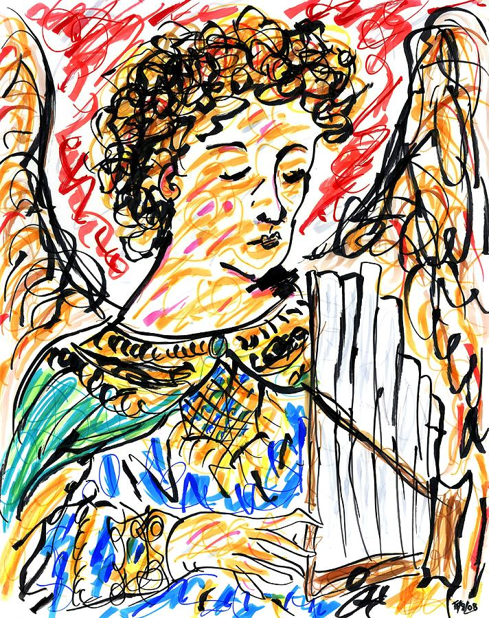 Angel With Pipes - Final Drawing  - Angel With Pipes - Final Fine Art Print