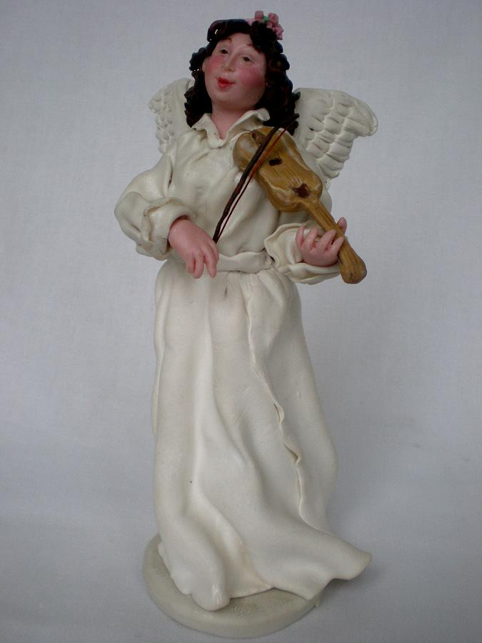 Angel With Violine Ceramic Art  - Angel With Violine Fine Art Print