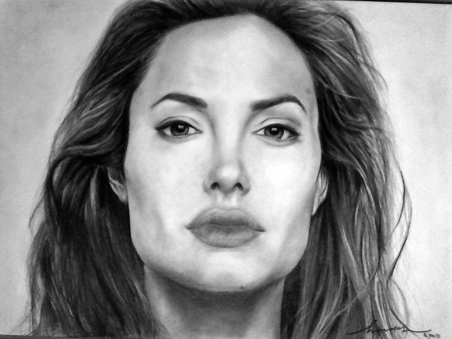 Angelina Jolie Original Pencil Drawing Drawing