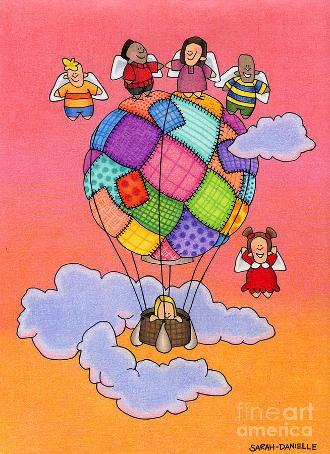 Angels With Hot Air Balloon Drawing