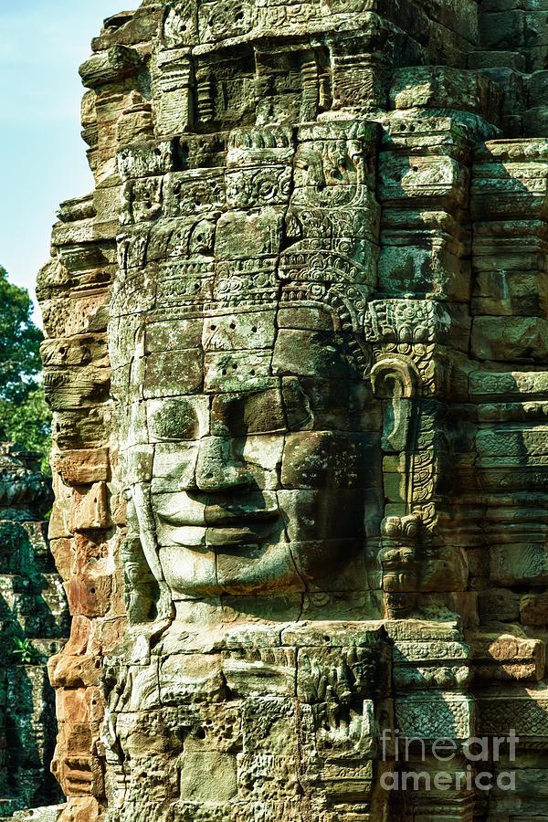 Angkor Bayon Stone Carving Cambodia Photograph