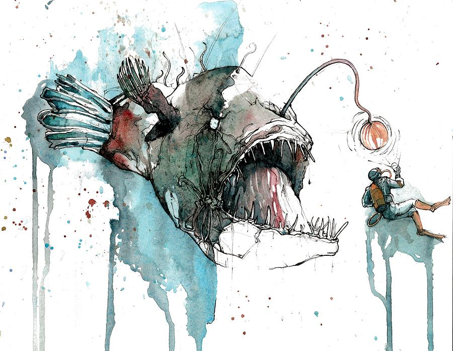 Angler Painting - Angler  by Michael  Pattison