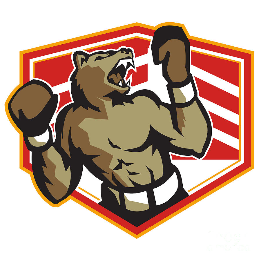 Angry Bear Boxer Boxing Retro Digital Art  - Angry Bear Boxer Boxing Retro Fine Art Print