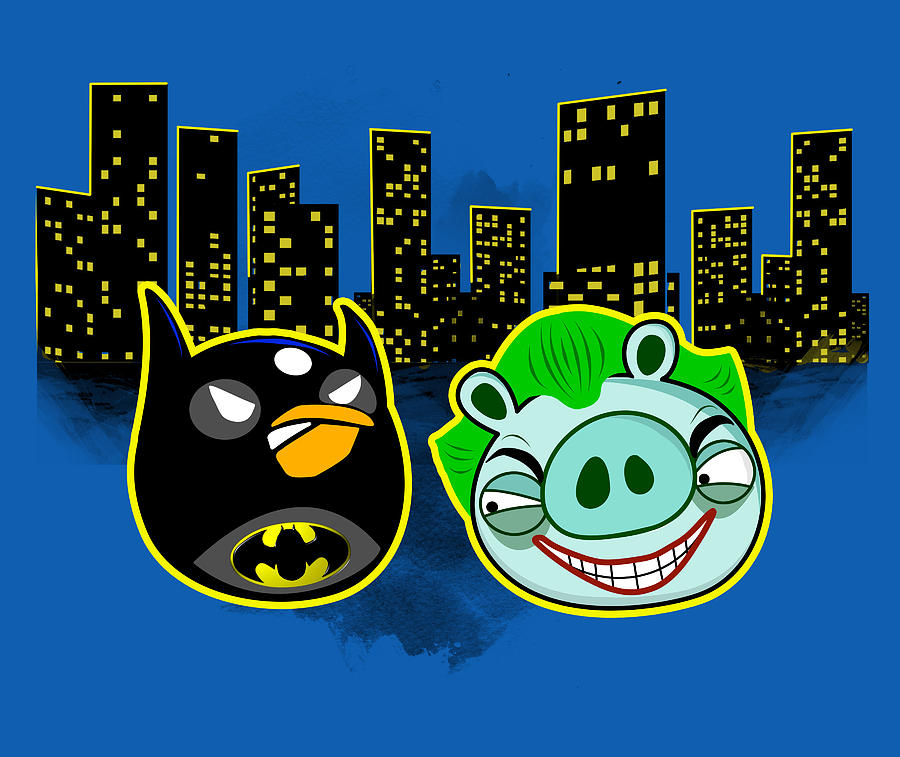 Angry Bird As Batman Pig Joker Digital Art  - Angry Bird As Batman Pig Joker Fine Art Print