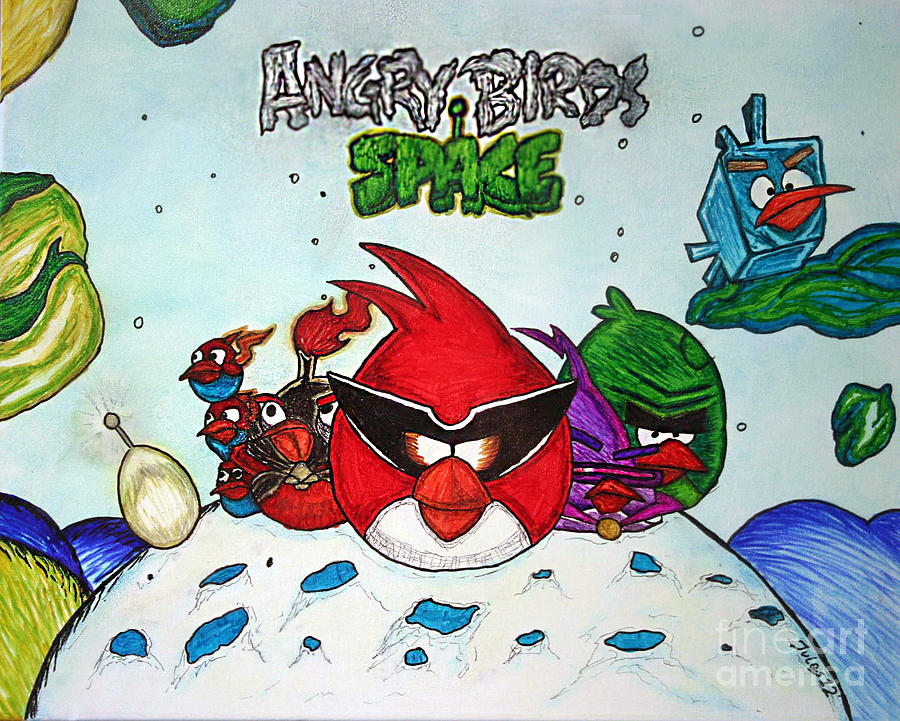 Angry Mixed Media - Angry Bird Space by Julie Farnsworth