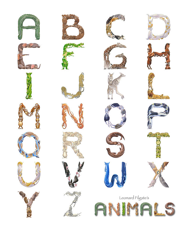 Animals Painting - Animal Alphabet by Leonard Filgate