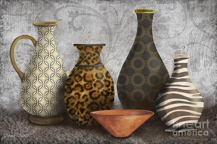 Animal Print Vase Still Life-a Painting