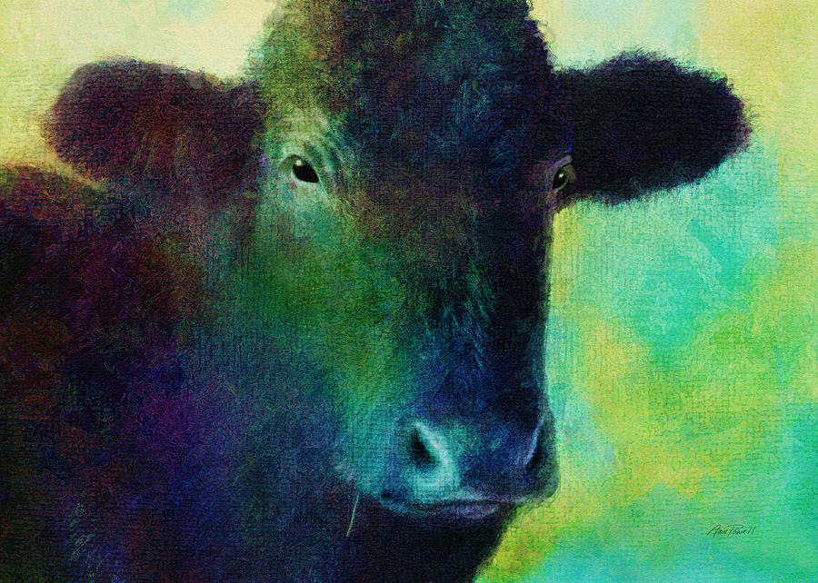 animals - cows- Black Cow Digital Art  - animals - cows- Black Cow Fine Art Print