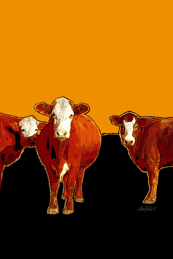 animals -cows Three Pop Art with Orange Digital Art  - animals -cows Three Pop Art with Orange Fine Art Print