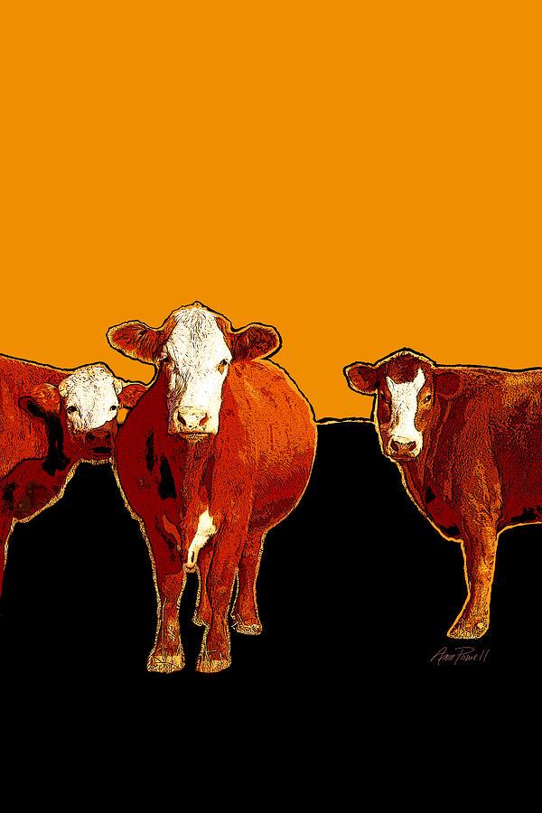animals -cows Three Pop Art with Orange Digital Art