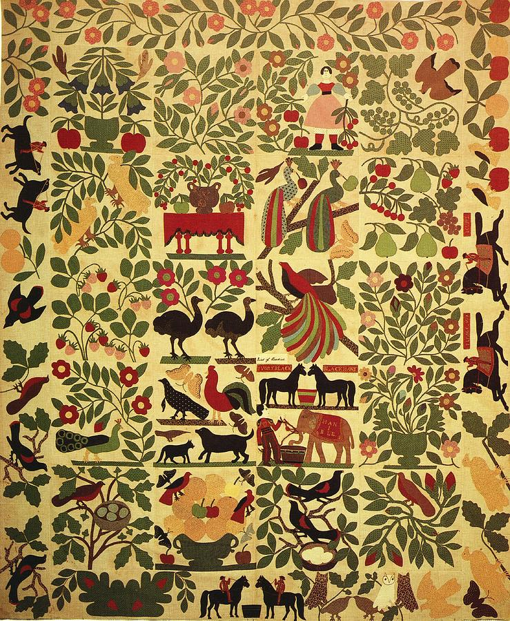 Animals On Applique Tapestry - Textile  - Animals On Applique Fine Art Print