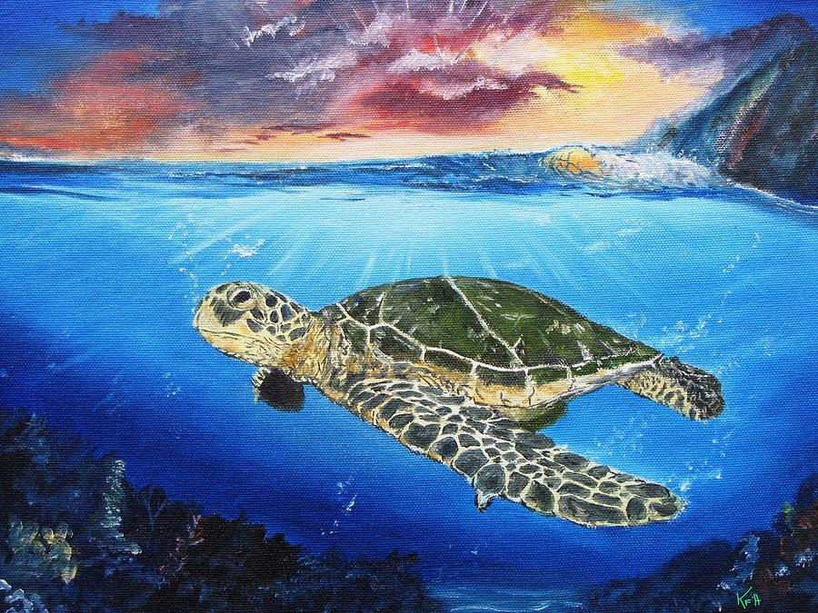 Sea Turtle Painting - Anita Elise by Kevin F Heuman