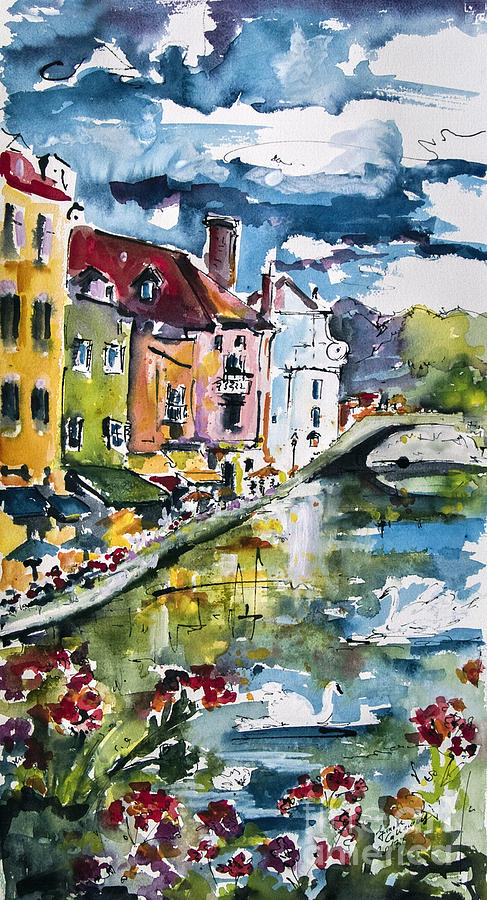 Annecy Canal And Swans France Watercolor Painting  - Annecy Canal And Swans France Watercolor Fine Art Print