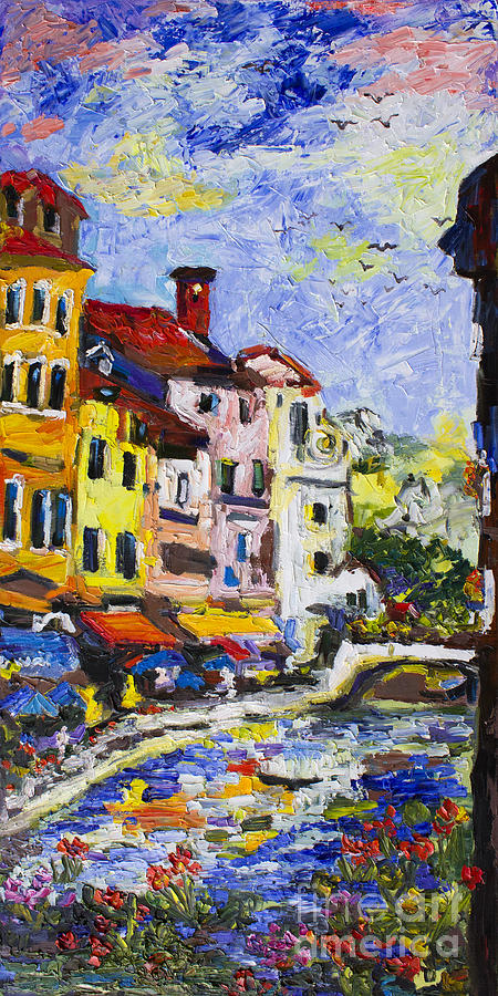 Annecy France Canal And Bistros Impressionism Knife Oil Painting Painting