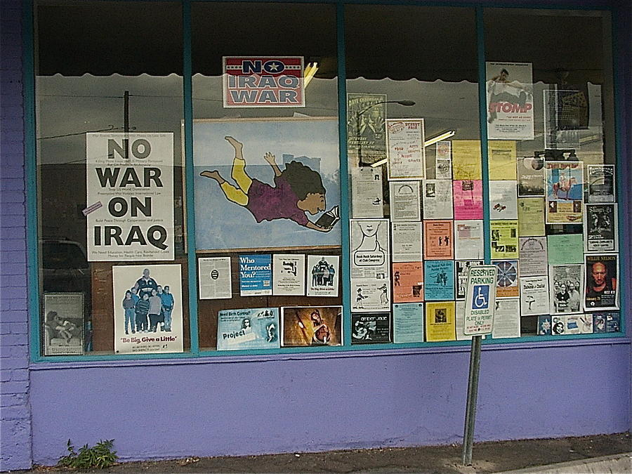 Anti-iraq War Posters 4th Avenue Book Store Window Tucson Arizona 2000 Photograph  - Anti-iraq War Posters 4th Avenue Book Store Window Tucson Arizona 2000 Fine Art Print
